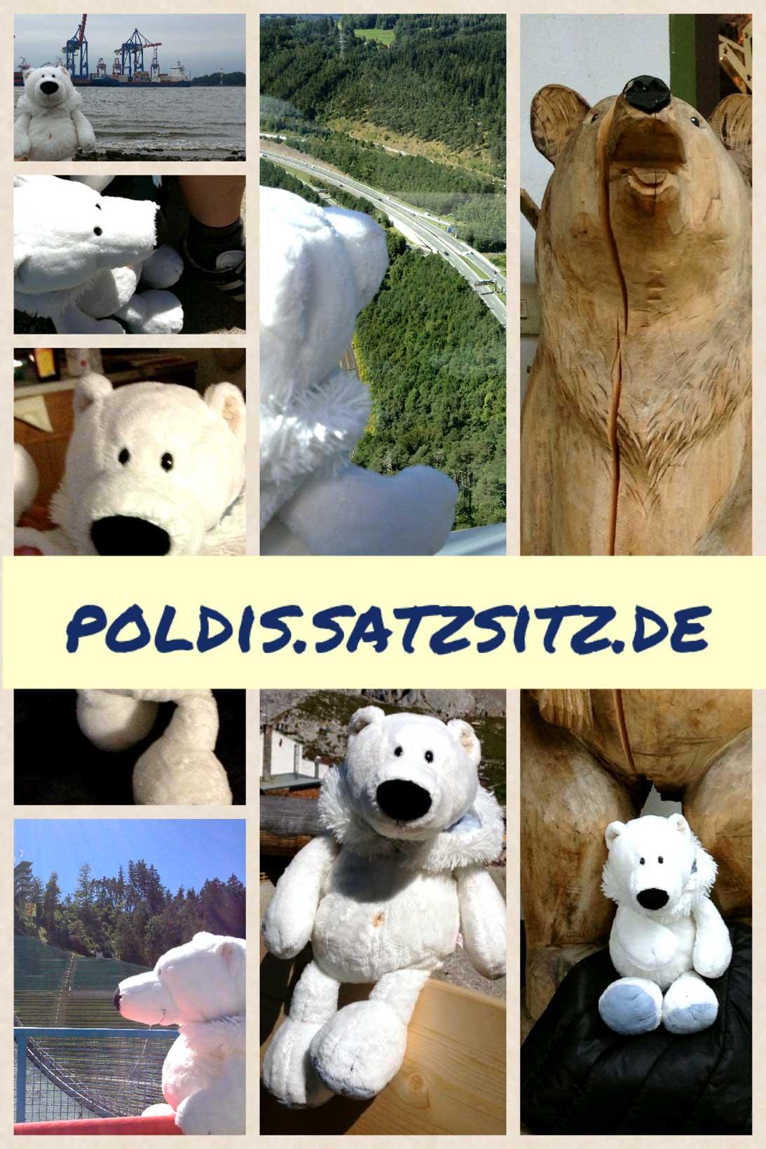 Bildercollage von Poldis verschiedenen Urlaubsetappen.